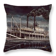 Spread Eagle Steamboat Night Throw Pillow
