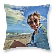 Katie And The Beach Throw Pillow