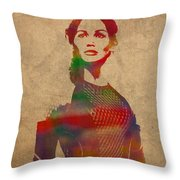 Katniss Everdeen From Hunger Games Jennifer Lawrence Watercolor Portrait On Worn Parchment Throw Pillow