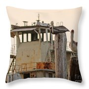 Katrina Ghost Boat And Pelicans Throw Pillow