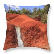 Kauai Red Dirt Waterfall Throw Pillow