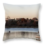 Kayak At Sunset Throw Pillow