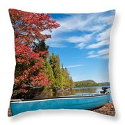 Kayak Boat During Sunny Day  Throw Pillow