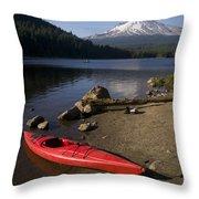 Kayak On Trillium Lake Throw Pillow
