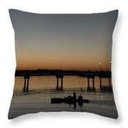 Kayaker Sunrise Throw Pillow