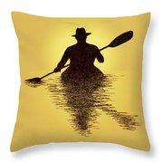 Kayaker Sunset Throw Pillow