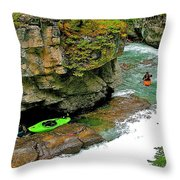Kayakers In Maligne Canyon In Jasper Np-alberta Throw Pillow
