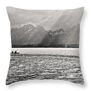 Kayakers On Jackson Lake Throw Pillow