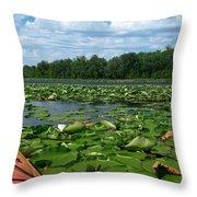 Kayaking Among The Waterlillies Throw Pillow