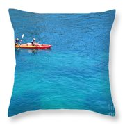 Kayaking At Calanque De Port Miou In Cassis France Throw Pillow