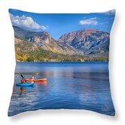 Kayaking Grand Lake Throw Pillow