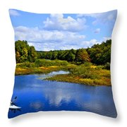 Kayaking The Moose River - Old Forge New York Throw Pillow by David Patterson