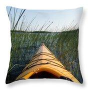 Kayaking Through Reeds Bwca Throw Pillow