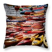 Kayaks At Rockport Throw Pillow