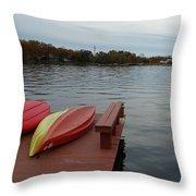 Kayaks By The Lake Nj Throw Pillow