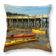 Kayaks By The Pier Throw Pillow