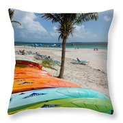 Kayaks On The Beach Throw Pillow