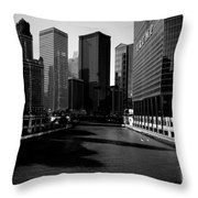 Kayaks On The Chicago River - Black Throw Pillow