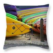 Kayaks Stacked Throw Pillow