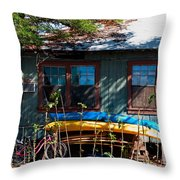 Kayaks Surfboards And Bikes - The Good Life Throw Pillow