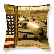 Kc-135 Stratotanker Rustic Flag Throw Pillow