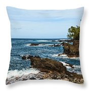 Keanae Coast - The Rugged Volcanic Coast Of The Keanae Peninsula In Maui. Throw Pillow