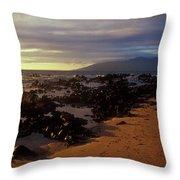 Keawakupu Beach Lava Evening Light Maui Hawaii Throw Pillow