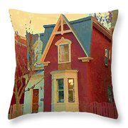 Keep A Light In The Window Til I Come Home Again Winter House Pointe St Charles City Scene Cspandau  Throw Pillow
