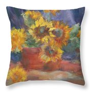 Keep On The Sunny Side - Original Contemporary Impressionist Painting - Sunflower Bouquet Throw Pillow