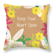 Keep Your Heart Open Throw Pillow