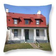 Keeper's House - Presque Isle Light Michigan Throw Pillow