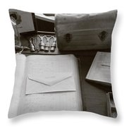 Keeping The Books Throw Pillow by Susan Carella