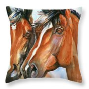 Horse Painting Keeping Watch Throw Pillow