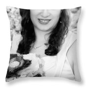 Keira In Black And White Throw Pillow