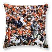 Keith Payne Superman Dive Virginia Cavaliers Football Throw Pillow by Jason O Watson