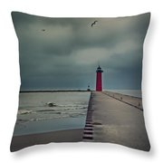 Kenosha North Pier Lighthouse - Dark And Stormy Throw Pillow