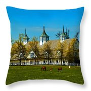 Kentucky Horse Barn Hotel Throw Pillow
