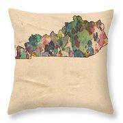 Kentucky Map Vintage Watercolor Throw Pillow