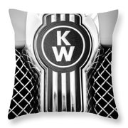Kenworth Truck Emblem -1196bw Throw Pillow