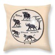 Kenya Animals Throw Pillow