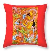 Kerala Fresco Mural Throw Pillow