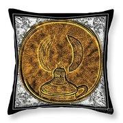 Kerosene Lamp - Brass Etching Throw Pillow