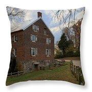 Kerr Grist Mill Fall Panorama Throw Pillow