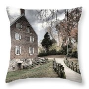 Kerr Grist Mill Stormy Skies Panorama Throw Pillow