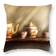 Kettle - My Grandmother's Chinese Tea Set  Throw Pillow by Mike Savad