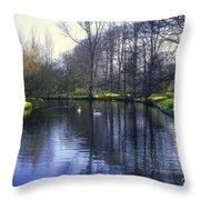 Keukenhof Lake Scene Throw Pillow