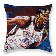 Kevin Durant Throw Pillow by Maria Arango