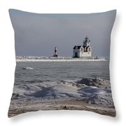 Kewaunee Lighthouse In Winter Throw Pillow