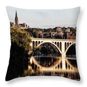 Key Bridge And Georgetown University Washington Dc Throw Pillow