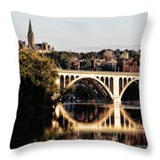 Key Bridge And Georgetown University Washington Dc Throw Pillow